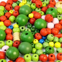 Wooden Beads - Natural Colours (250g)